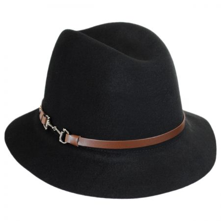 Karen Kane Equine Trim Brushed Wool Felt Fedora Hat