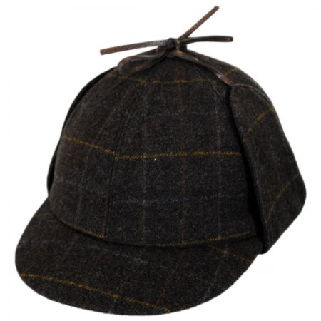 Windowpane Plaid Wool Sherlock Holmes Hat alternate view 1