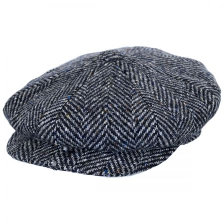 City Sport Caps Large Herringbone Donegal Tweed Wool Newsboy Cap - Tan/Brown