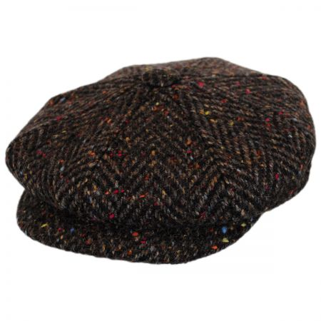 City Sport Caps Large Herringbone Donegal Tweed Wool Newsboy Cap