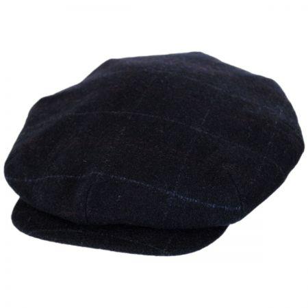 City Sport Caps Windowpane Plaid Loden Wool 50P Newsboy Cap