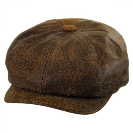 B2B Jaxon Leather Newsboy Cap