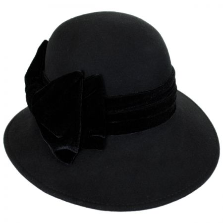Callanan Hats Velvet Bow Wool Felt Down Brim Hat