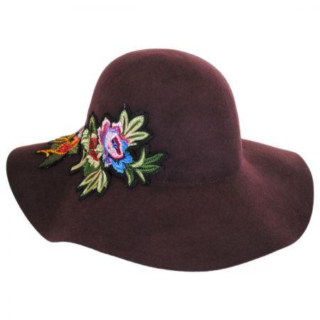 Hatch Hats Floral Applique Wool Felt Floppy Hat - Brown
