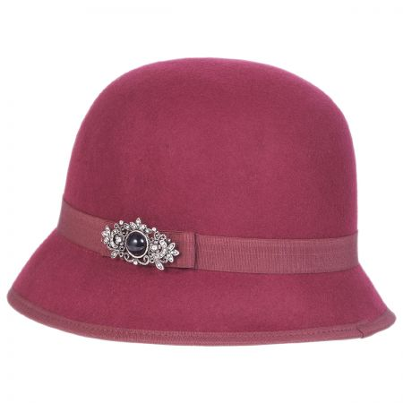 Brooch Wool Felt Cloche Hat