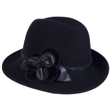 Rose Profile Wool Felt Fedora Hat