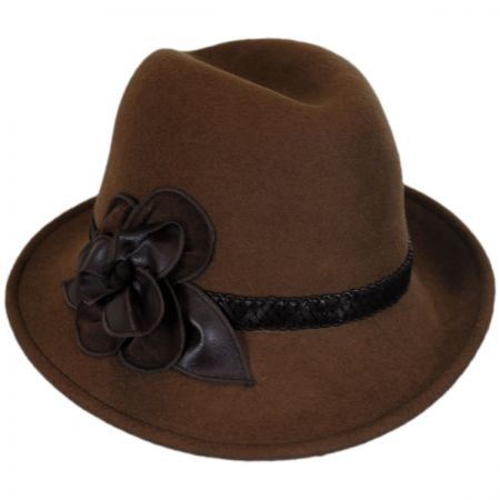 Rose Profile Wool Felt Fedora Hat alternate view 2