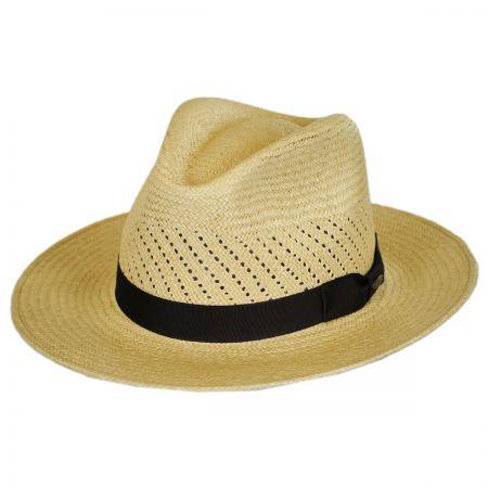 Scala Vent Crown Panama Straw Safari Fedora Hat