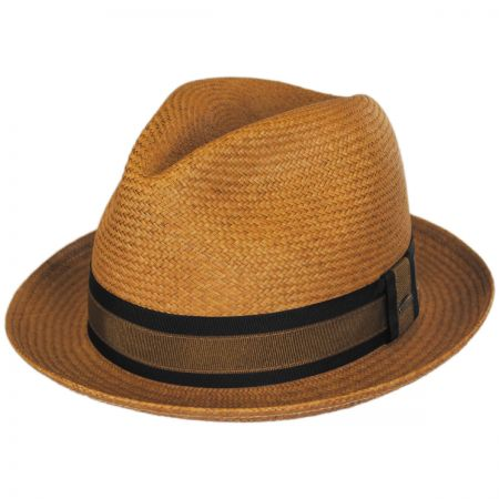 Scala Two-Tone Band Panama Straw Trilby Fedora Hat