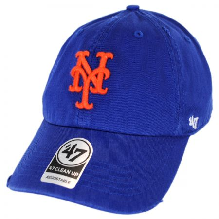 47 Brand New York Mets MLB Ridge Clean Up Strapback Baseball Cap Dad Hat