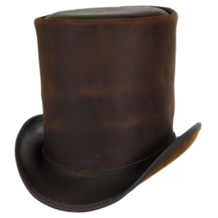 Head 'N Home The Butcher Leather Stove Pipe Top Hat