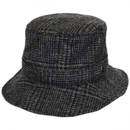 Hills Hats of New Zealand Lincolnshire Check English Tweed Wool Bucket Hat