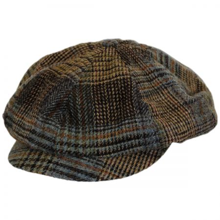 Hills Hats of New Zealand Patchwork English Tweed Wool Big Baker Boy Cap