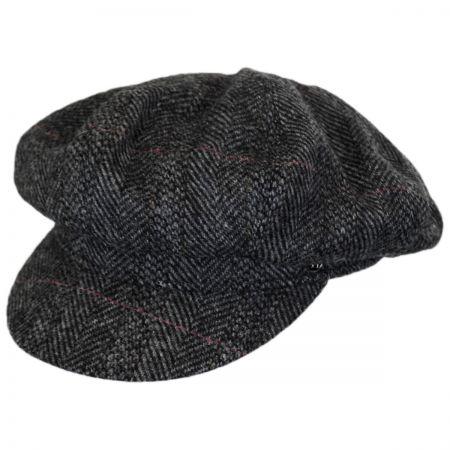 Hills Hats of New Zealand Oxford Herringbone English Tweed Wool Baker Boy Cap