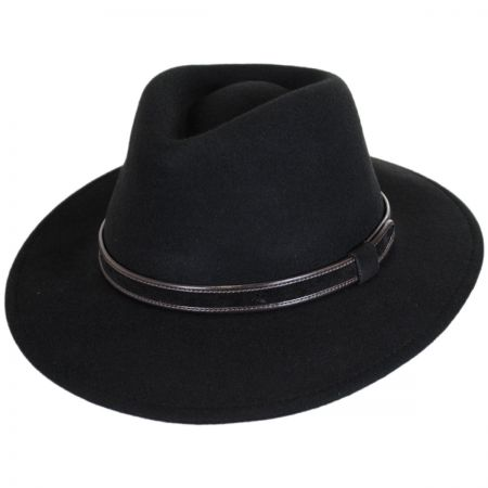 5af93c8ea71 Black Leather Fedora at Village Hat Shop