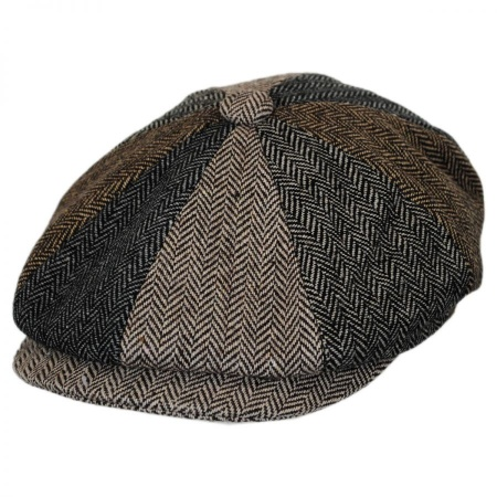 B2B Jaxon Herringbone Patchwork Wool Blend Newsboy Cap