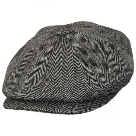 B2B Jaxon Herringbone Pure Wool Newsboy Cap
