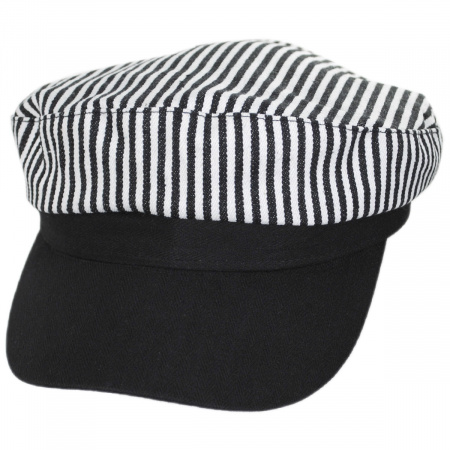 Striped Cotton Sailor's Cap - Contrast Bill