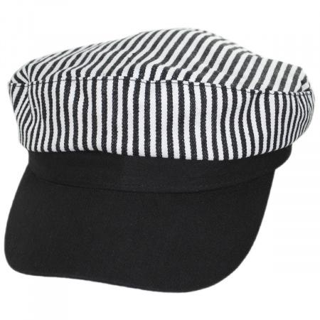 Jeanne Simmons Striped Cotton Sailor's Cap