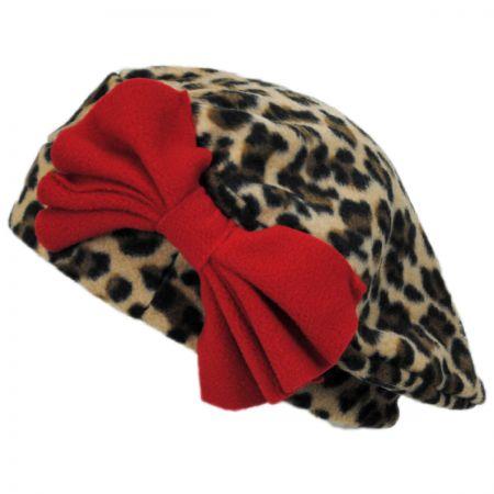 Jeanne Simmons Cheetah Bow Fleece Beret