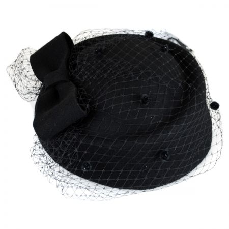 Jeanne Simmons Bow and Mesh Pillbox Hat