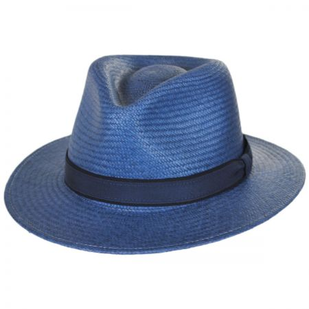 39cac1b20ad80 Blue Straw Fedora at Village Hat Shop