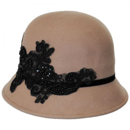 Lace and Sequins Wool Felt Cloche Hat alternate view 5