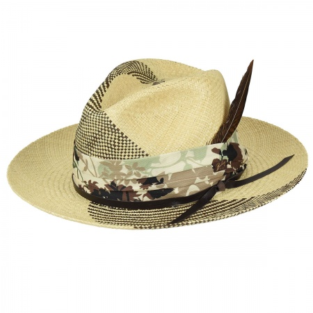 Rayney Two-Tone Panama Straw Fedora Hat alternate view 1