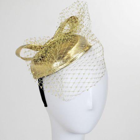 Jeanne Simmons Metallic Pillbox and Veil Fascinator Headband