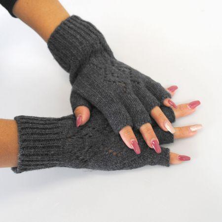 Pattern Knit Fingerless Gloves