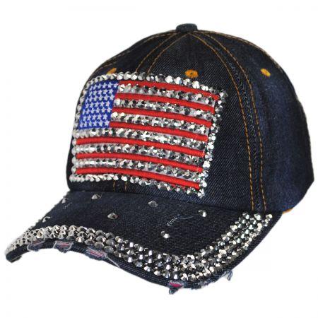 Studded Flag Strapback Baseball Cap Dad Hat alternate view 1