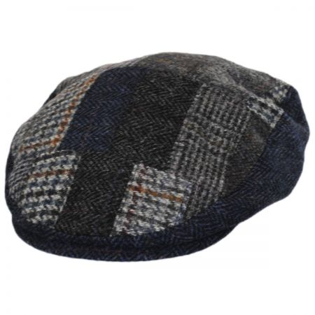 Hills Hats of New Zealand Cheesecutter Patchwork English Wool Tweed Ivy Cap
