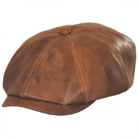 9800b9023c7d4c Leather Newsboy Cap at Village Hat Shop