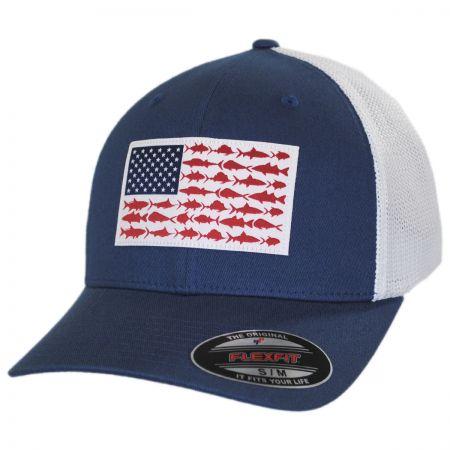 Columbia Sportswear PFG Fish Flag Mesh FlexFit Fitted Baseball Cap
