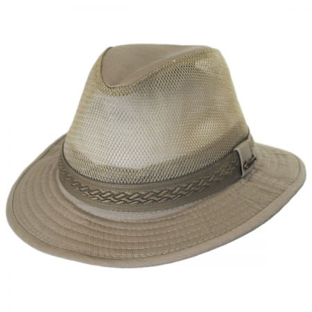 Web Trim Mesh Cotton Safari Fedora Hat alternate view 1