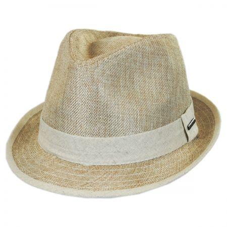 Two-Tone Burlap Trilby Fedora Hat