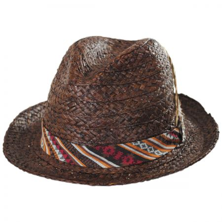 Carlos Santana Navajo Raffia Straw Fedora Hat