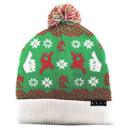 Thumbs Up Holiday Knit Beanie Hat