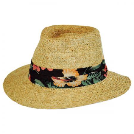 Scala Los Cabos Raffia Straw Safari Fedora Hat