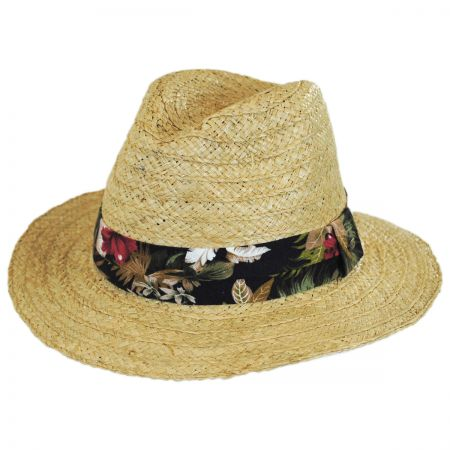 Scala Cozumel Raffia Straw Safari Fedora Hat