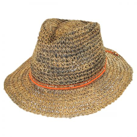 ale by Alessandra Trancoso Seagrass Straw Fedora Hat