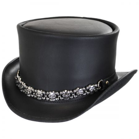 8 Skulls Leather Top Hat alternate view 1