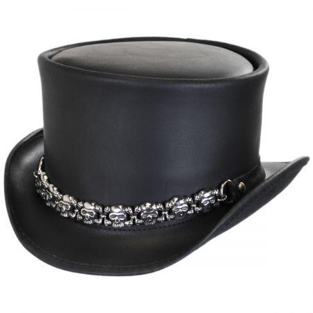 Head 'N Home 8 Skulls Leather Top Hat