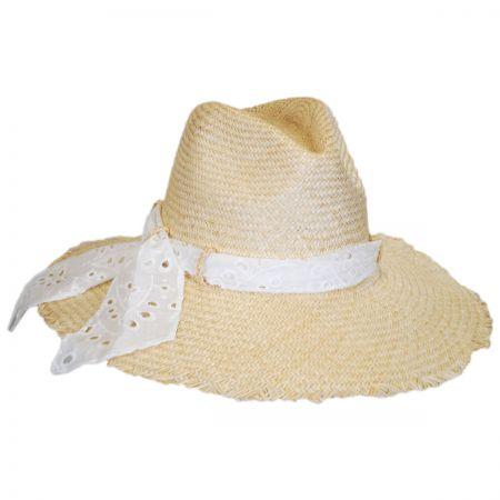 Eyelet Scarf Straw Fedora Hat