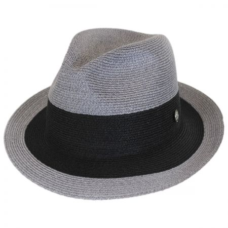 Black Stripe Hemp Straw Fedora Hat alternate view 1