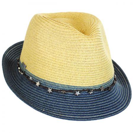 San Diego Hat Company Star Band Toyo Straw Trilby Fedora Hat