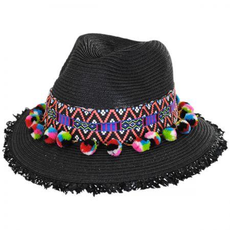 San Diego Hat Company Aztec Band Pom Pom Toyo Straw Fedora Hat