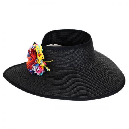 San Diego Hat Company Roll Up Pom Pom Toyo Straw Visor