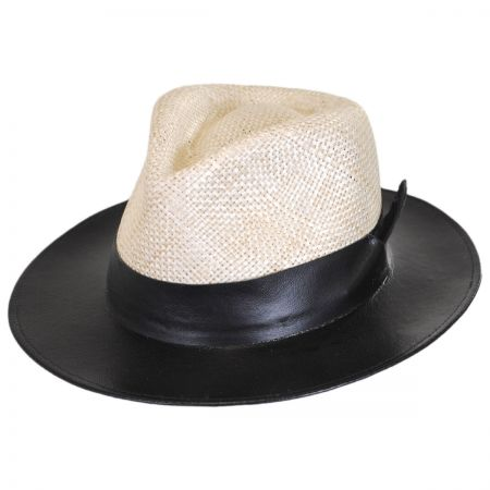 Larsen Leather and Sisal Straw Fedora Hat