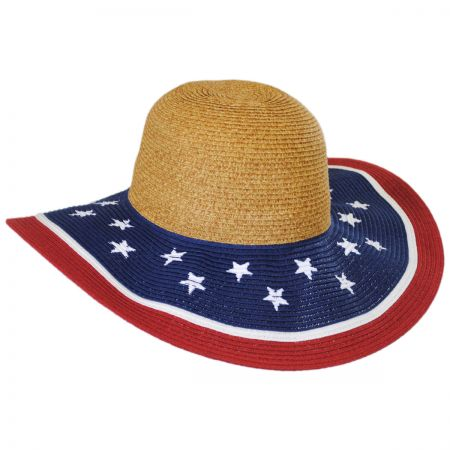 Jeanne Simmons Stars and Stripes Toyo Straw Swinger Hat